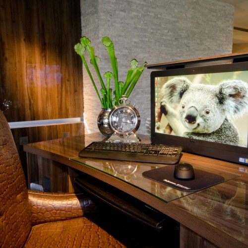 Study room interior design with pop up screen on work desk