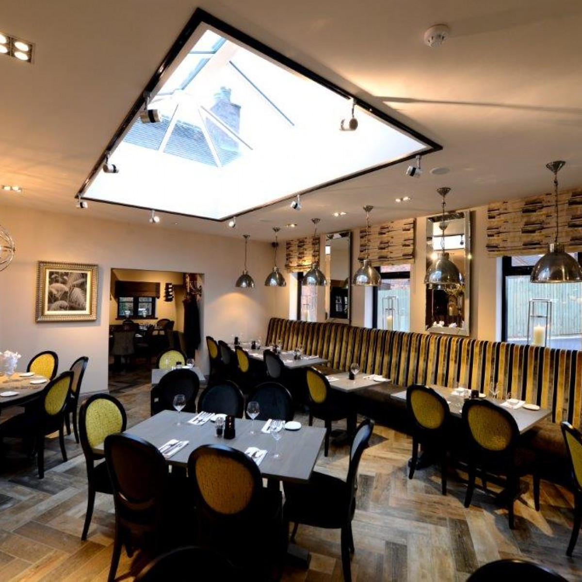 Restaurant Interior design downstairs eating area with bespoke furnishings
