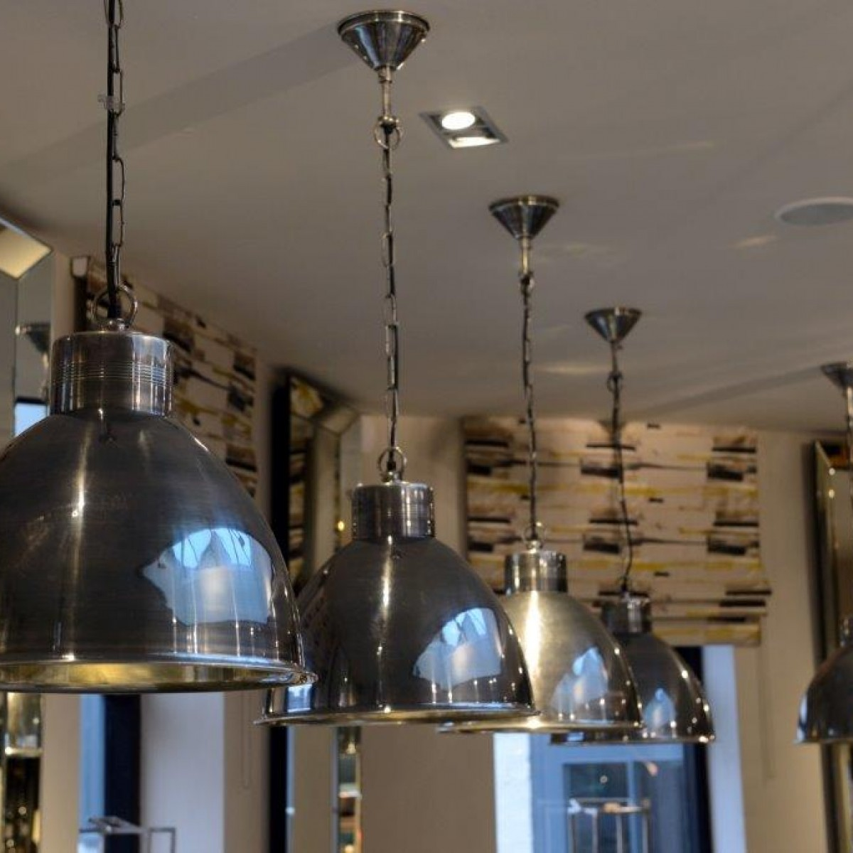 Hanging lights to provide lighting of restaurant tables for the plough design and build shenstone