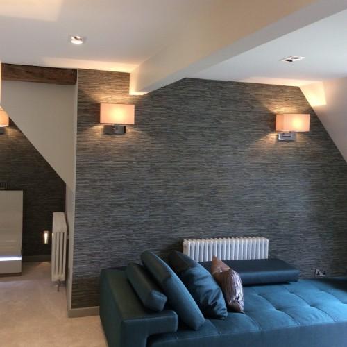 bedroom walkway interior design in the midlands with blue comfort sofa