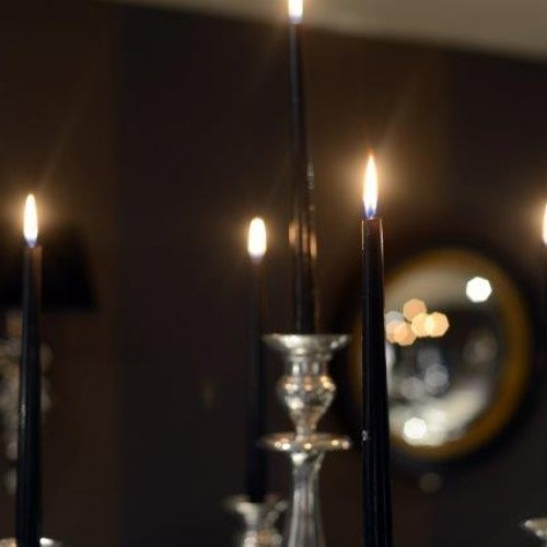 Candle light feature for fine dining interior design shenstone