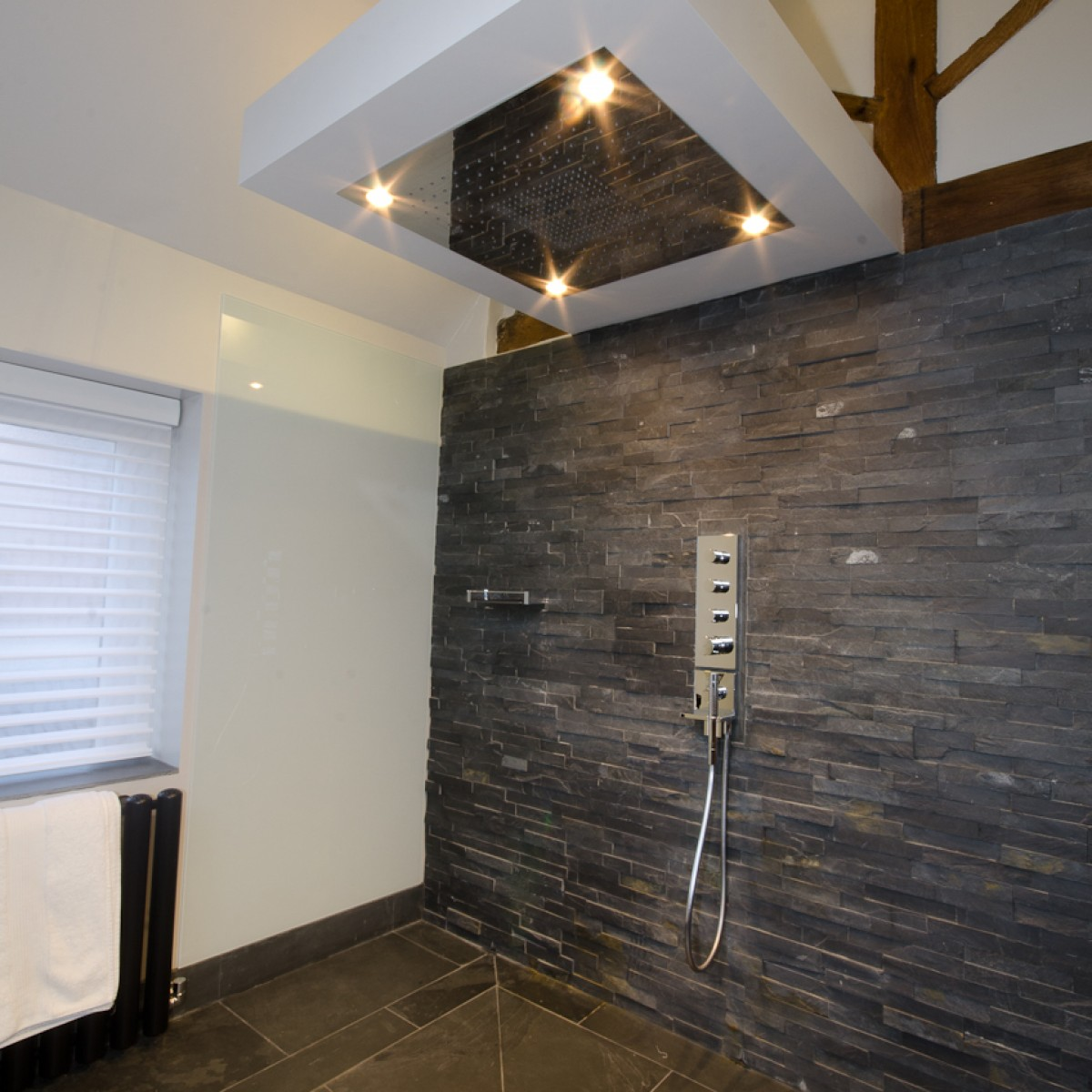 Contemporary interior design for bathroom shower unit with free hanging ceiling shower head.