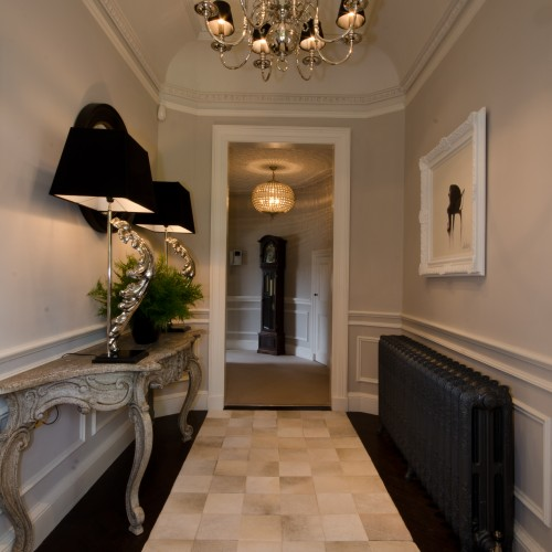 Hair on Hide Rug in traditional hallway interior design