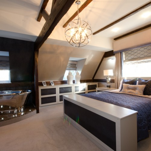 Blue modern classic Bedroom Design with bath on pinth