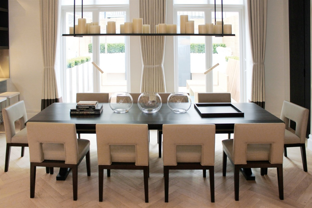 Modern soft tone colour table and furnishings