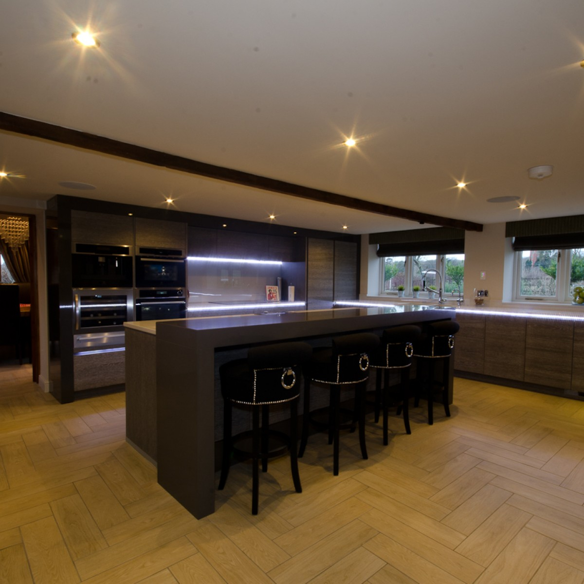 Ceramic wood effect kitchen interior