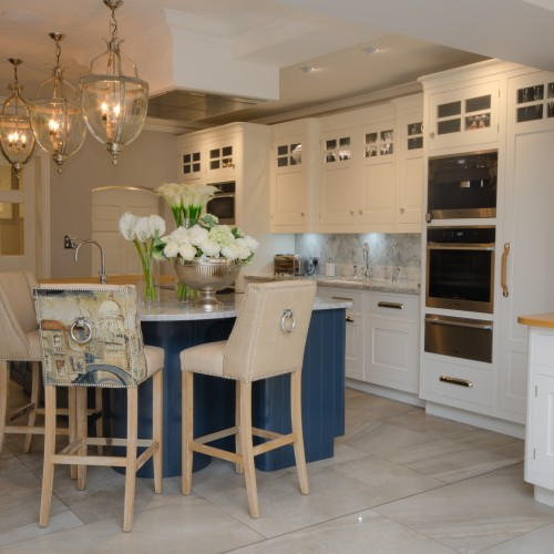 New England Kitchen Interiors with bespoke units and upholstered bar stools