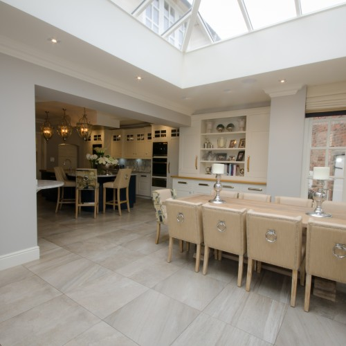 Solus Ceramics tiling in large open space orangery interior design in stafforshire