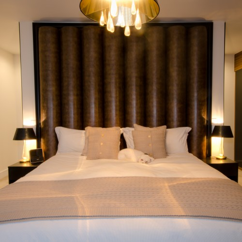 Luxury Bedroom Interior Design with bespoke headboard