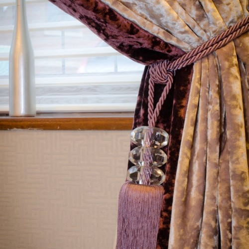 Aubergine and Grey Crushed velvet curtains