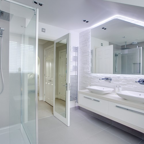 modern bathroom interior design with LED feature lighting