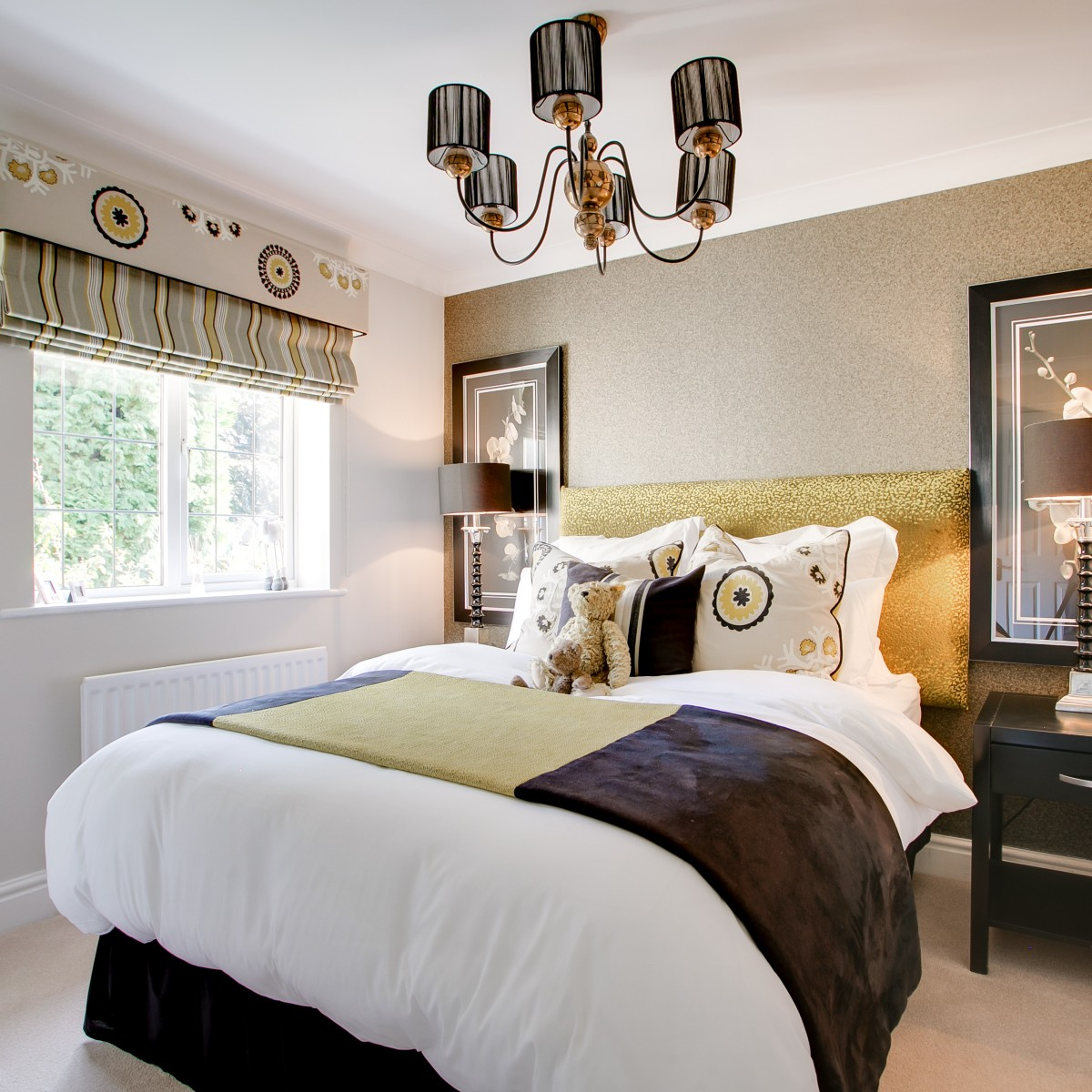 brown and gold guest bedroom interior design