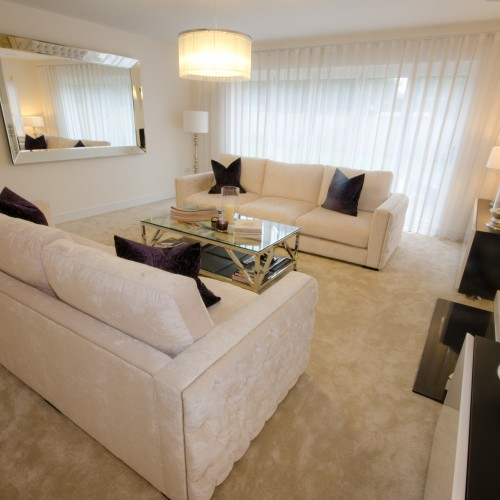 Four oaks New build interior design living room
